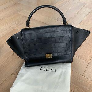 Celine Trapeze Handbag Black Stamped Croc